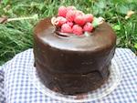 Decadent Chocolate Cake with Raspberries