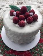 Vanilla Cake with Raspberries